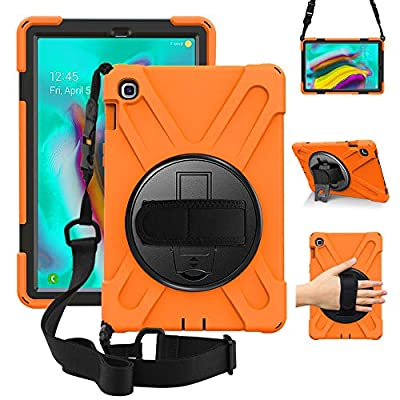 ZenRich Galaxy Tab S5e Case 2019, SM-T720/T725/T727 Heavy Duty Shockproof Rugged Case with 360 Rotatable Stand Hand Strap and Shoulder Belt for Samsung Galaxy Tab S5e 10.5 inch 2019 Tablet-Orange